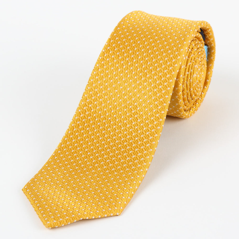 Gold/White - Spotted Textured Weave Silk Tie