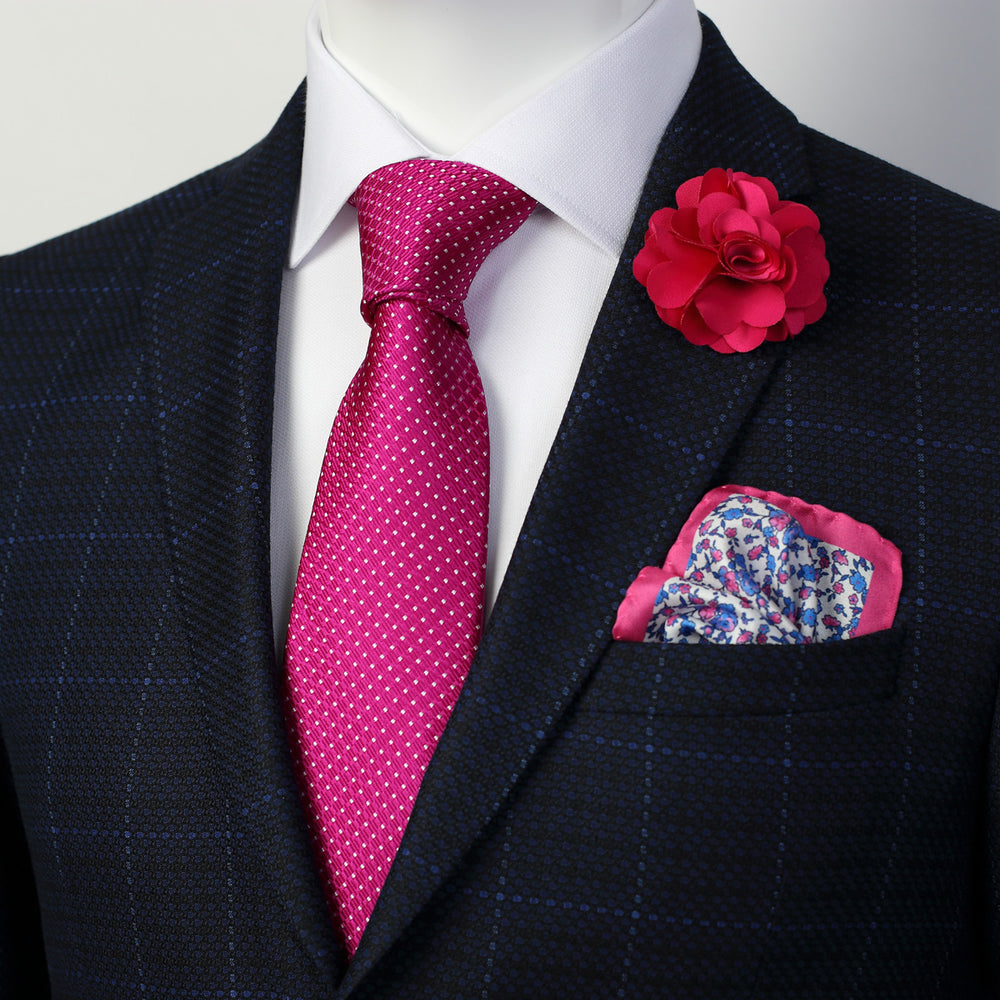 Magenta/White - Spotted Textured Weave Silk Tie