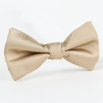 Nugget/White - Pin Point Satin Weave Single Dimple Silk Bow Tie