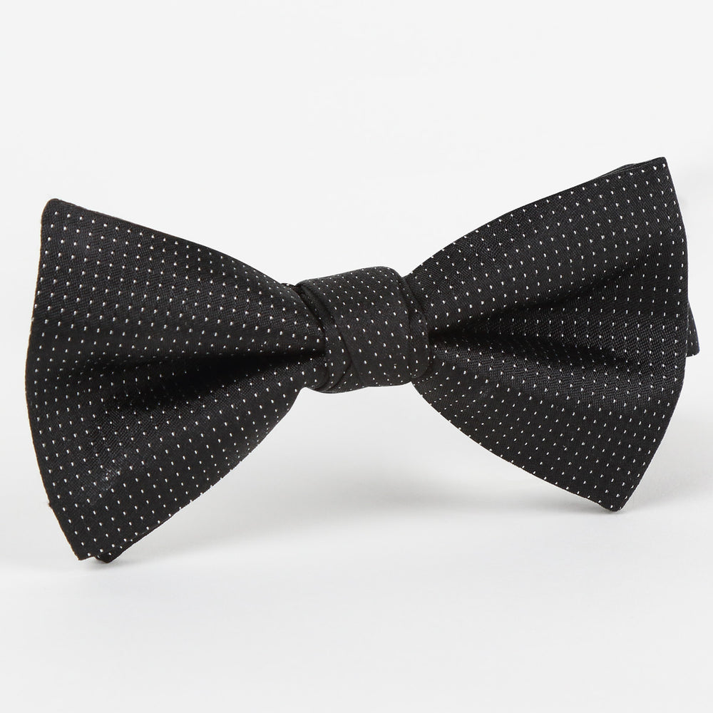 M19554B Luxury Pin Point Satin Weave Pure Silk Bow Tie