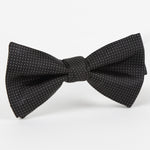 Black/White - Pin Point Satin Weave Single Dimple Silk Bow Tie