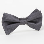 Char/White - Pin Point Satin Weave Single Dimple Silk Bow Tie