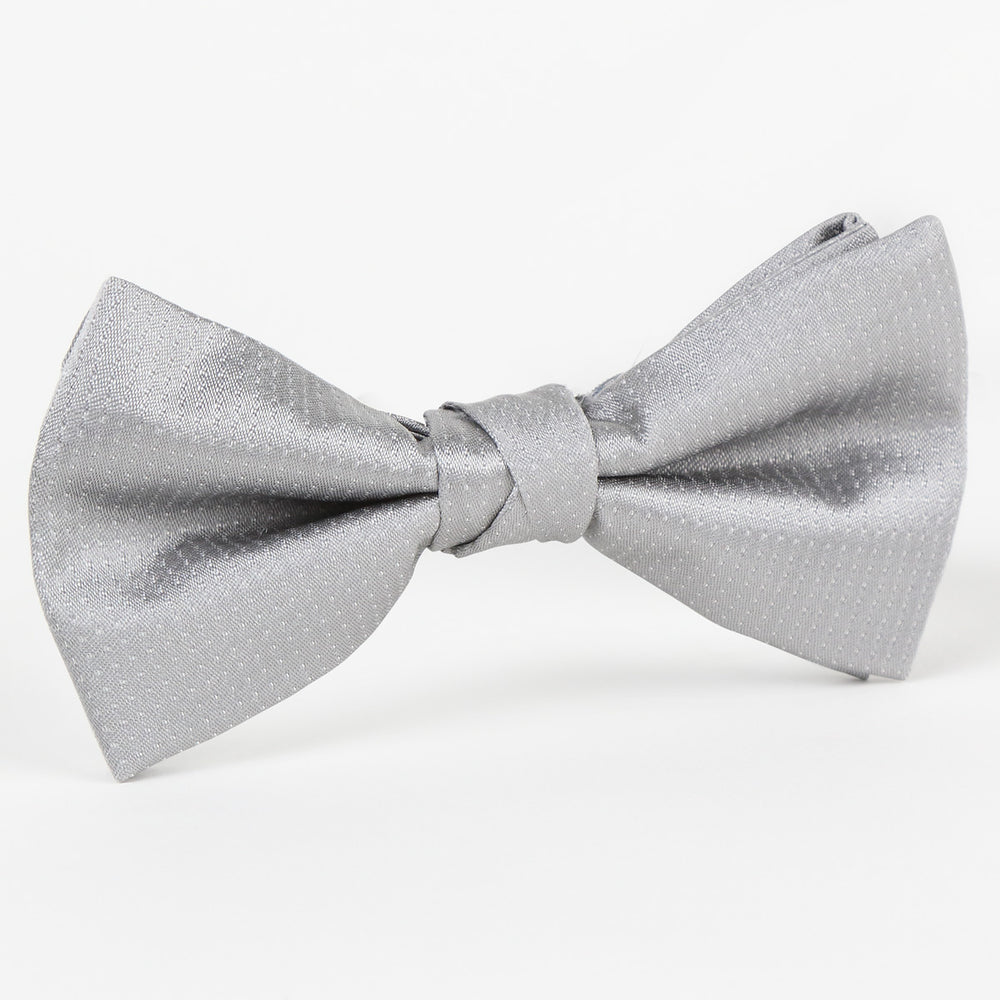 Silver/White - Pin Point Satin Weave Single Dimple Silk Bow Tie