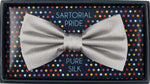 Silver - Pin Point Satin Weave Silk Bow Tie