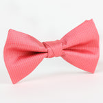 Coral/White - Pin Point Satin Weave Single Dimple Silk Bow Tie