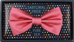 Coral - Pin Point Satin Weave Silk Bow Tie