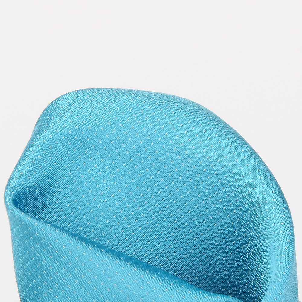 Turquoise - Pin Point Satin Weave Silk Pocket Square
