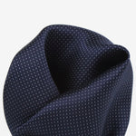 Navy - Pin Point Satin Weave Silk Pocket Square