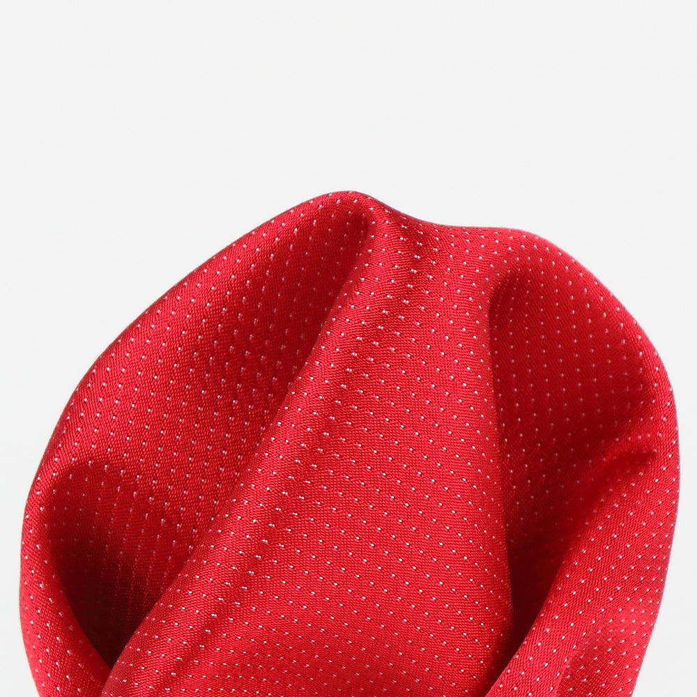 Red - Pin Point Satin Weave Silk Pocket Square