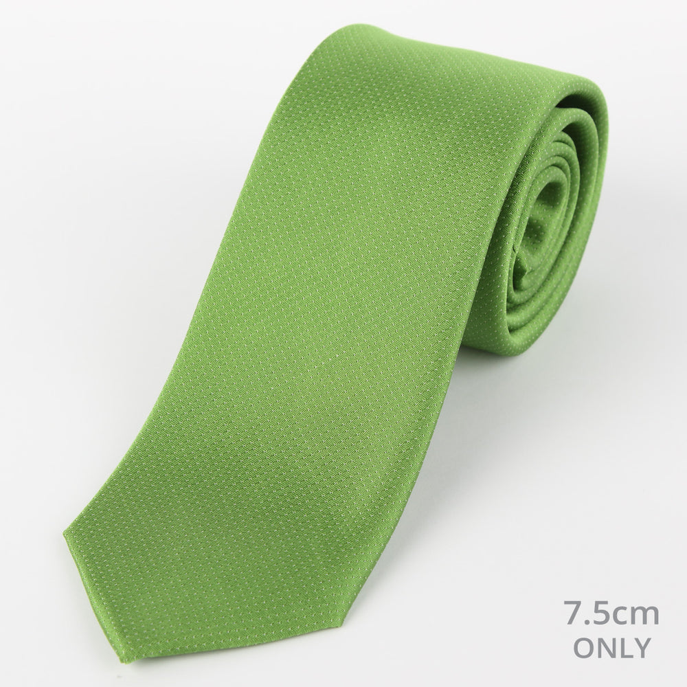 Green - Pin Point Satin Weave Silk Tie
