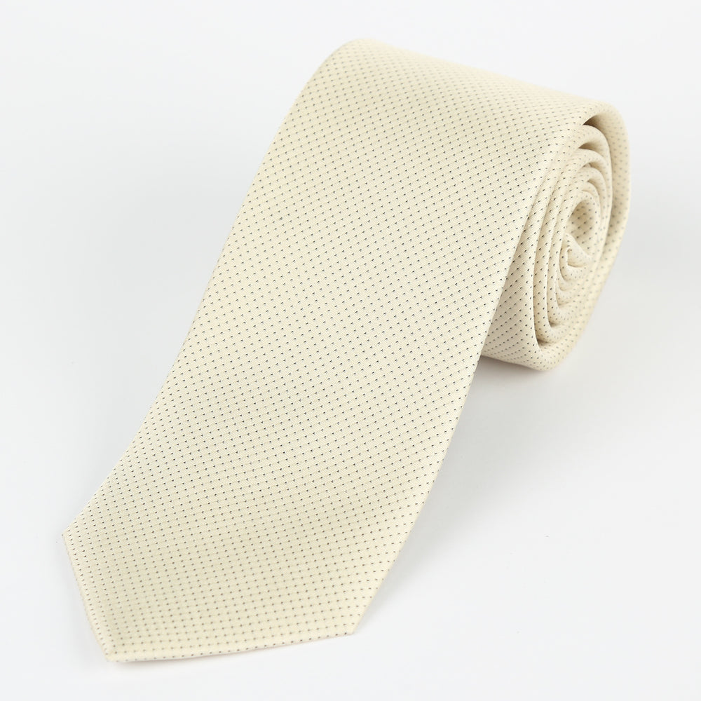 Ivory - Pin Point Satin Weave Silk Tie