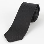 Black - Pin Point Satin Weave Silk Tie