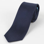 Navy - Pin Point Satin Weave Silk Tie