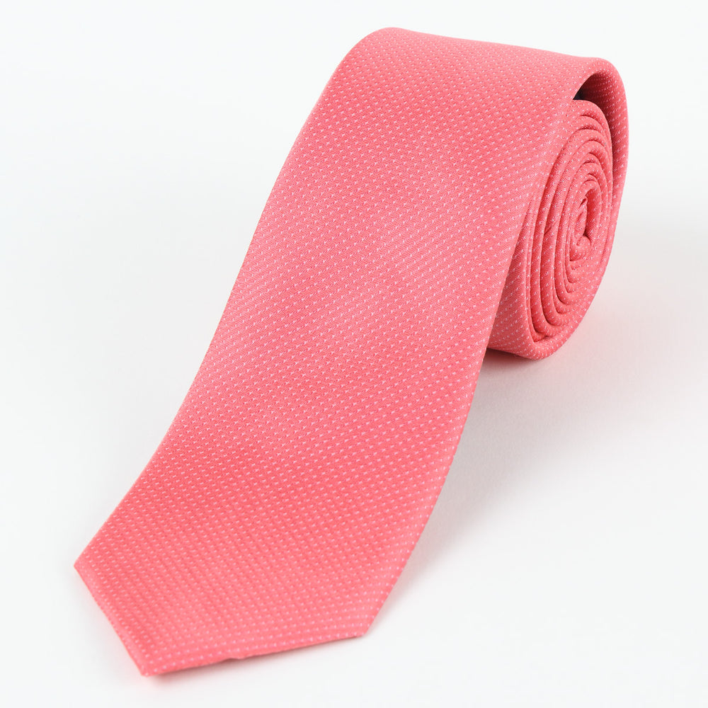 Coral - Pin Point Satin Weave Silk Tie