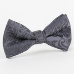 Charcoal - Paisley Weave Single Dimple Silk Bow Tie