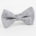 Silver - Paisley Weave Single Dimple Silk Bow Tie