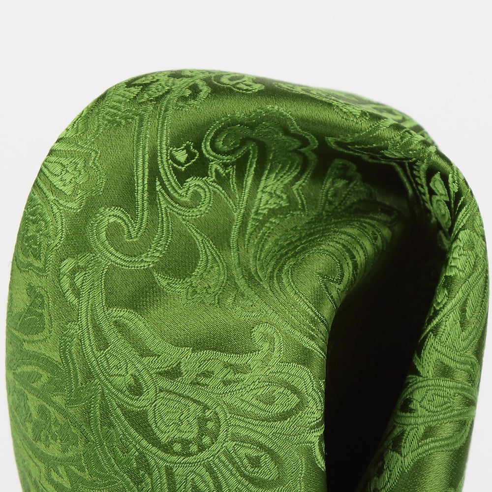 Green - Paisley Weave Pure Silk Pocket Square