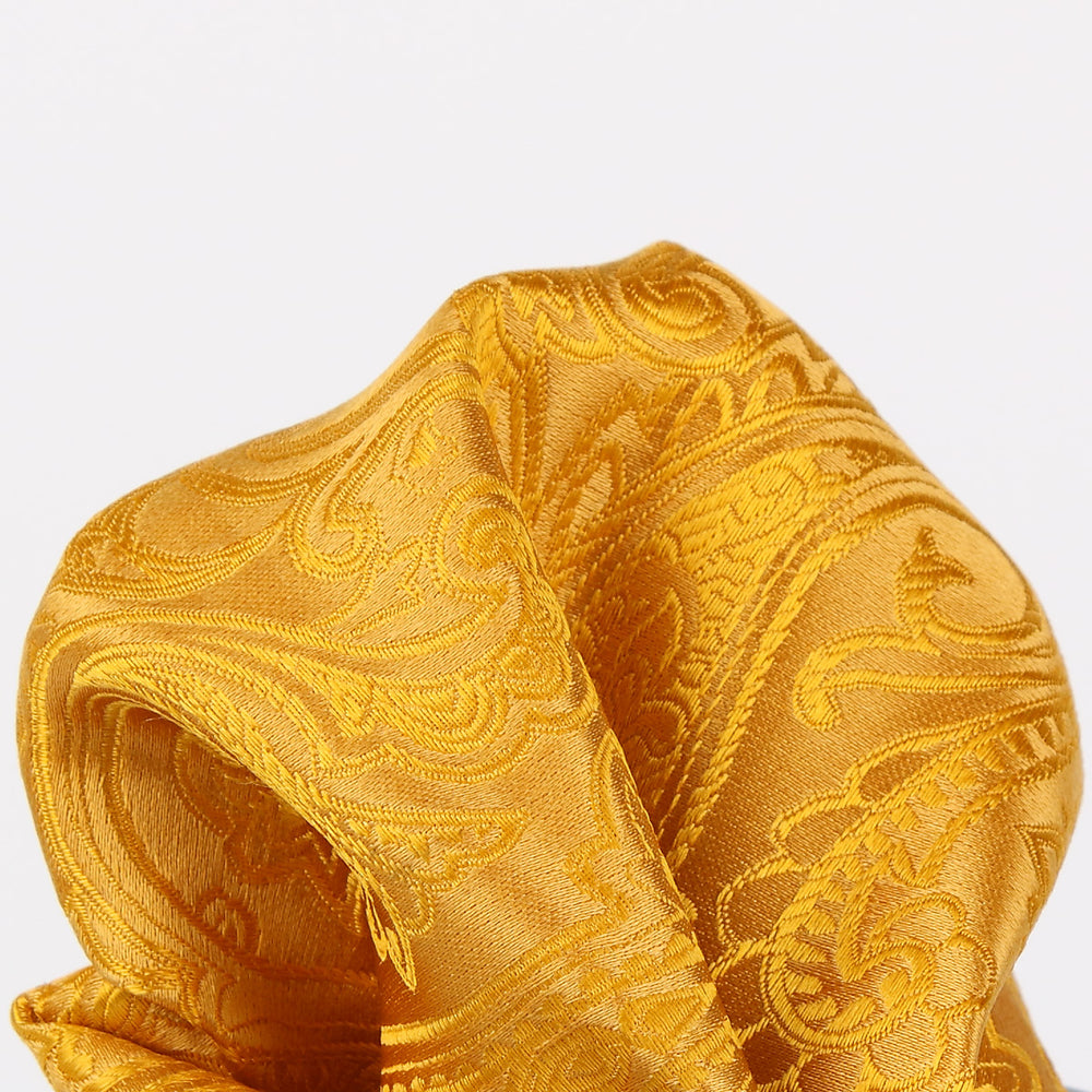 Gold - Paisley Weave Pure Silk Pocket Square