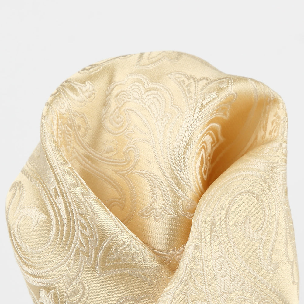 Ivory - Paisley Weave Pure Silk Pocket Square