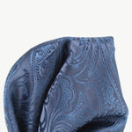 Slate - Paisley Weave Pure Silk Pocket Square