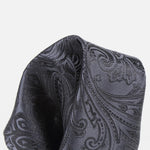 Charcoal - Paisley Weave Pure Silk Pocket Square