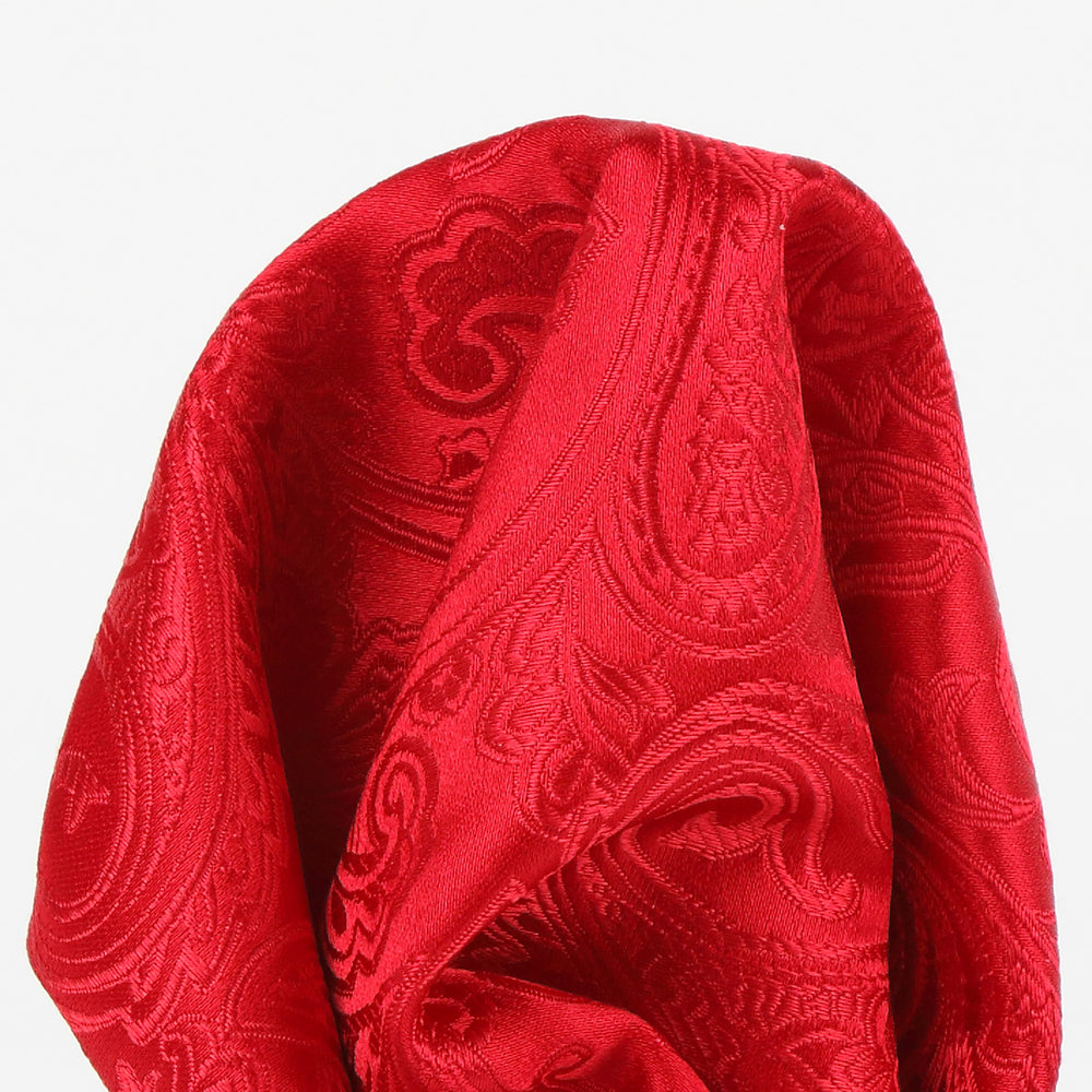 Red - Paisley Weave Pure Silk Pocket Square