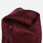 Burgundy - Paisley Weave Pure Silk Pocket Square