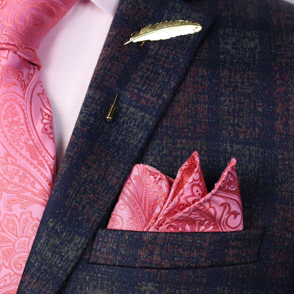 Coral - Paisley Weave Pure Silk Pocket Square