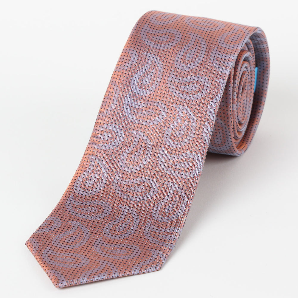 Orange - Paisley Micro Spot Silk Tie