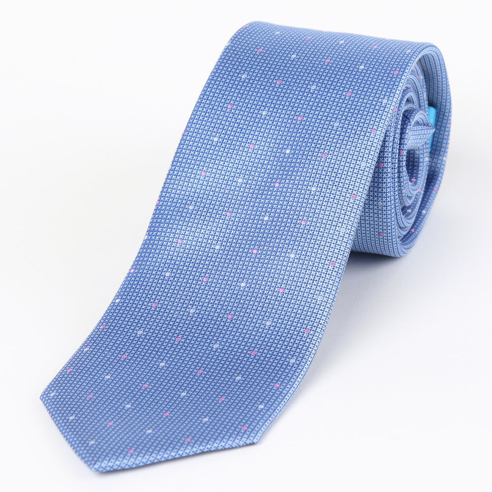 Sky - Mini Spot Textured Silk Tie