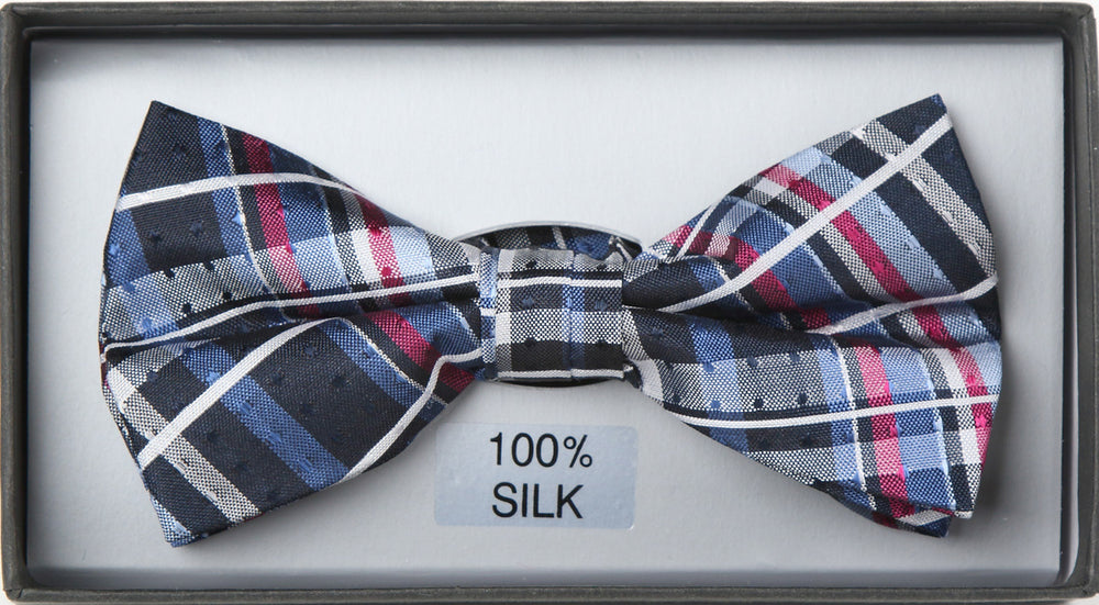 Navy/Magenta- Check Silk Bow Tie