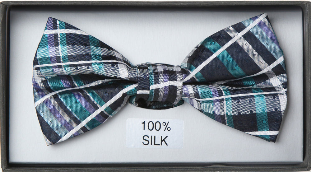 Black/Aqua -  Check Silk Bow Tie