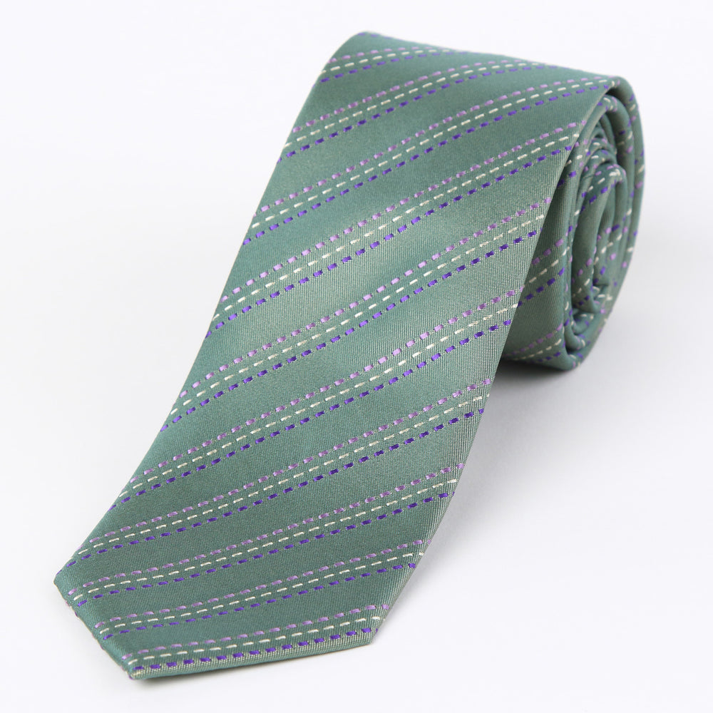 Green - Striped Silk Tie