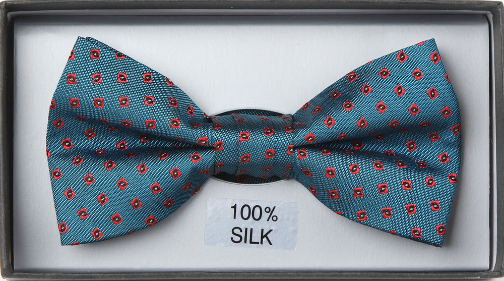 Aqua - Mini Medallion Textured Silk Bow Tie