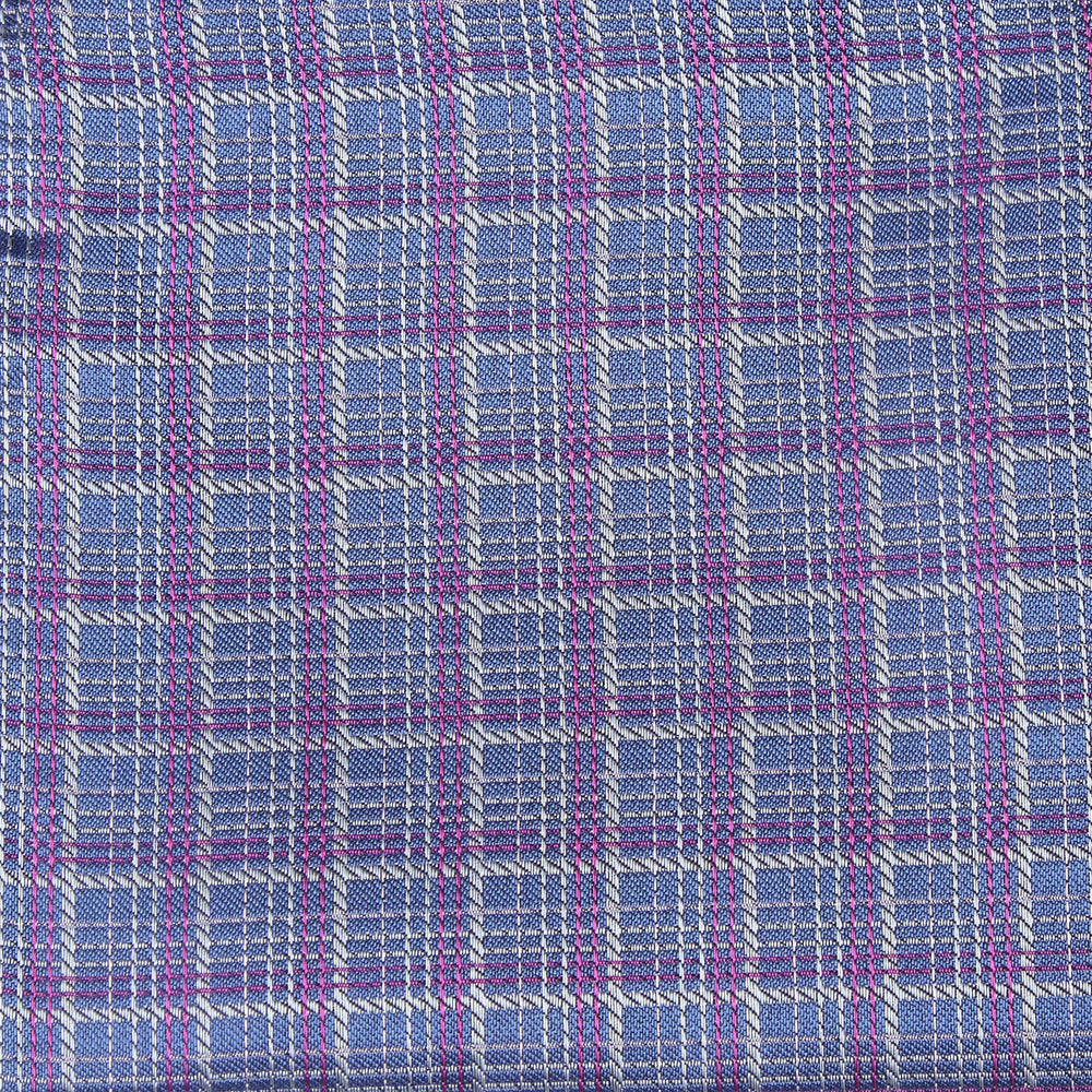 Mid Blue - Check Silk Pocket Square