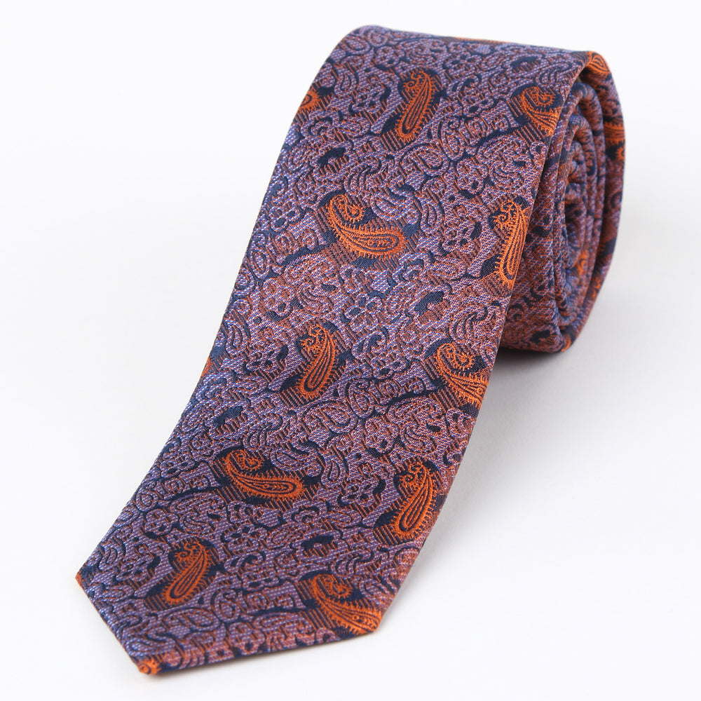 Orange - Paisley Textured Silk Tie