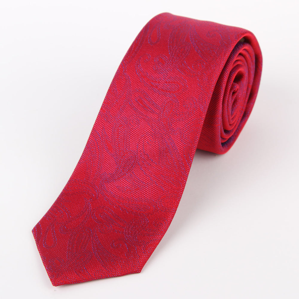 Red/Lilac - Subtle Paisley Silk Tie