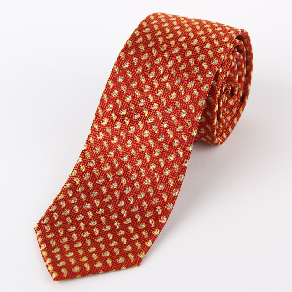 Orange - Mini Paisley Textured Silk Tie