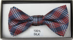 Navy/Red -  Check Silk Bow Tie