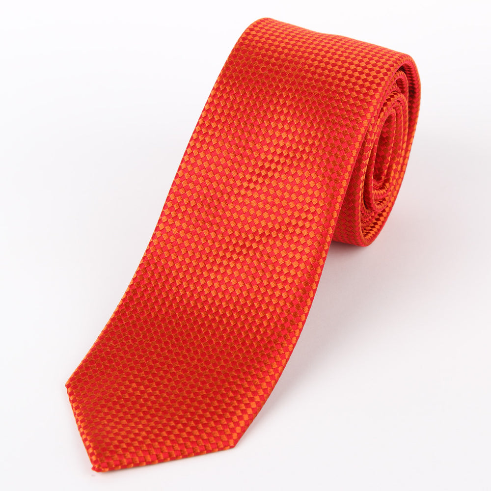 Orange - Square Textured Silk Tie