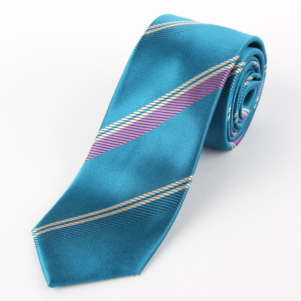 Aqua-Striped Silk Tie
