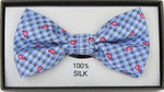 Blue - Mini Paisley Check Silk Bow Tie