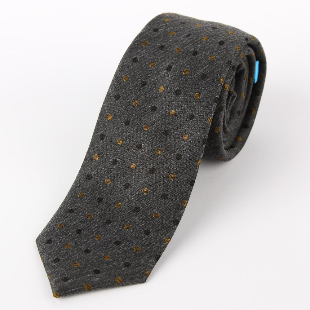 Charcoal - Mini Spotted Slub Silk Tie