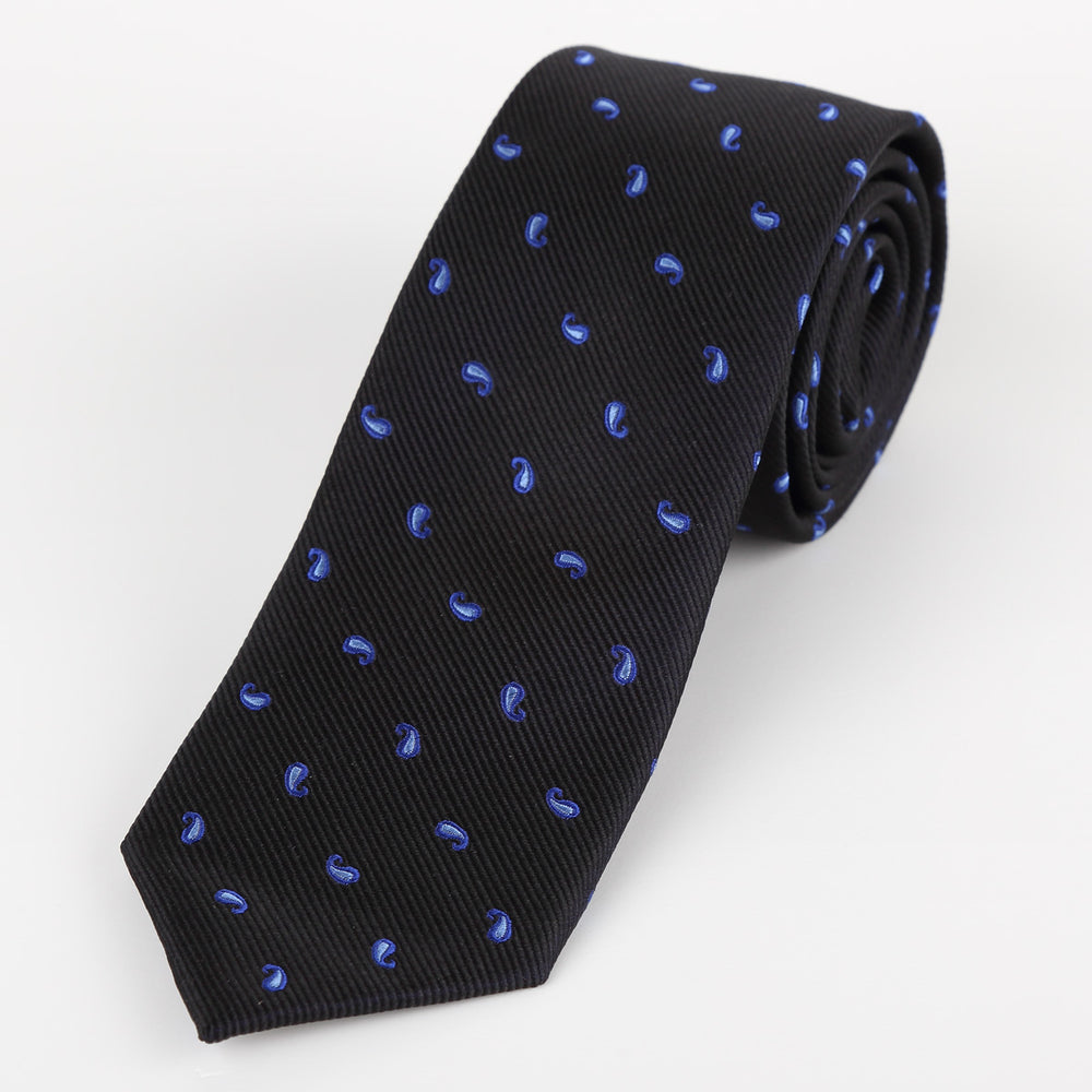 Black - Mini Paisley Silk Tie