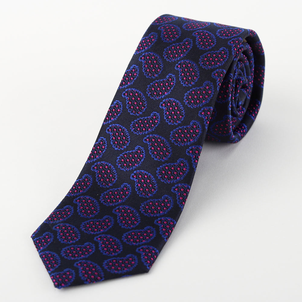 Navy - Spotted Paisley Silk Tie