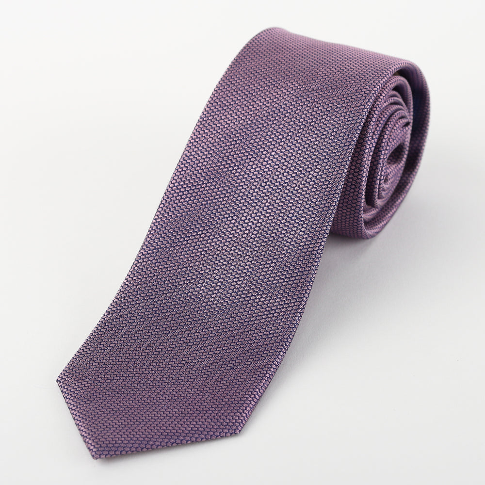 Soft Pink/Navy - Subtle Textured Silk Tie