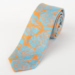 Orange/Turq - Floral Silk Tie