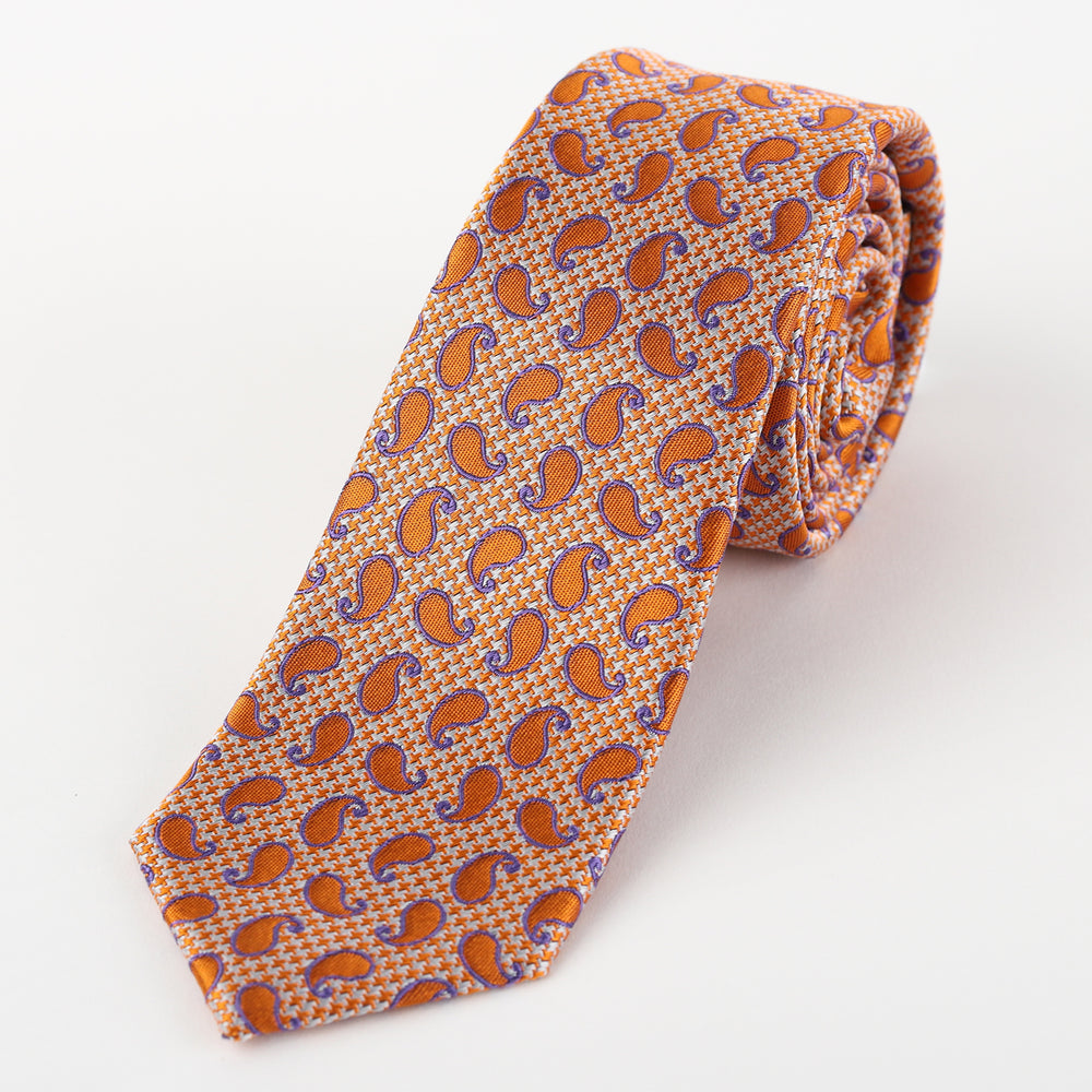 Orange - Paisley Silk Tie