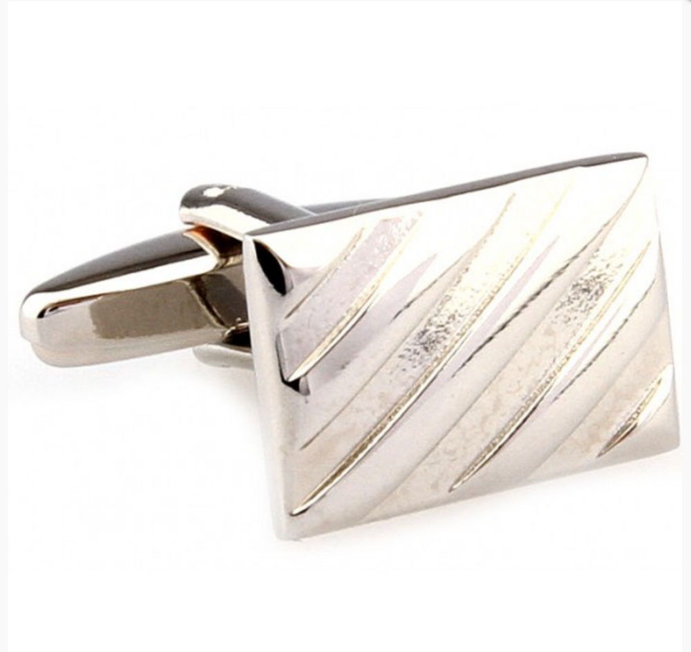 Silver - Diagonal Striped Cuff Links