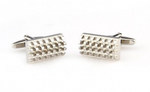 Silver - Rectangle Concave Convex  Cuff Links